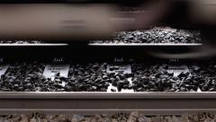 Train wheels passing on tracks Stock Footage