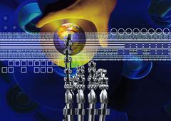 Tech background, electronics, biome - stock illustration