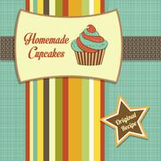 vintage homemade cupcakes poster - stock illustration