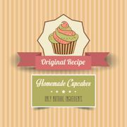 Stock Illustration of vintage homemade cupcakes poster