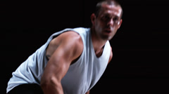 Medium shot of a basketball player shooting a ball Stock Footage