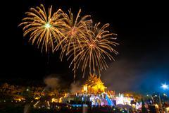 firework at royal park rajapruek. chiang mai, thailand. - stock photo