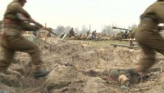 Soldiers attack the enemy. - stock footage