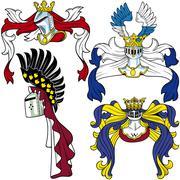 Heraldic Helmets - stock illustration