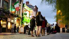 4K People In Temple Bar, Dublin, Ireland. Time Lapse Stock Footage