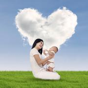 happy mother and baby outdoors - stock illustration