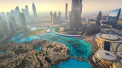 Music Fountain near Burj Khalifa 4K Stock Footage