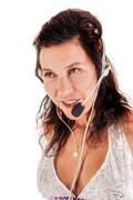 latin-american woman with a headset - stock photo
