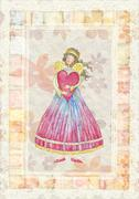 Angel with heart Stock Illustration