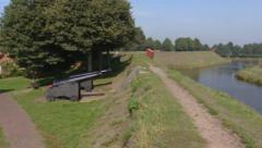 Rampart with guns, cannons + pan moat, Bourtange fortification, Stock Footage