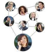 Business men women cell phone communication network Stock Photos