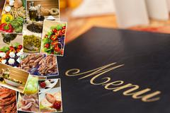 Mediterranean healthy food & menu montage Stock Photos