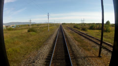 Trans-Siberian Railway view from the back of the train passing Stock Footage
