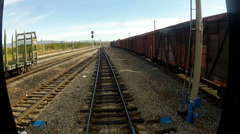 Trans-Siberian Railway train driving slowly Stock Footage