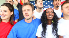 American Supporters at Stadium Stock Footage