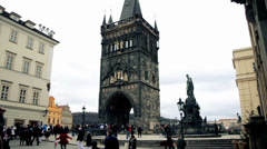 Charles bridge Tower Stock Footage