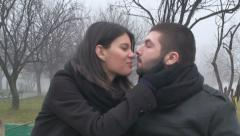 Valentine's Day Couple Kissing And Loving Each Other Love, Marriage, Front Shot - stock footage