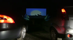 Cars at Drive-In Movie Theater Stock Footage