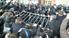 Protesters attacked police. Stock Footage
