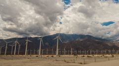 Time lapse of wind turbines in Palm Springs, California Stock Footage