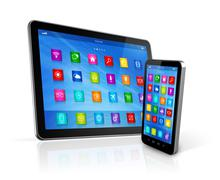 smartphone and digital tablet computer - stock illustration