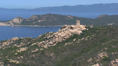 Aerial corsica tower Stock Footage