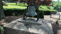 Large Monument Bell in Park (76) Stock Footage