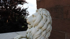 Lion Sculpture With Tilt Down - Head to Foot (93) - stock footage