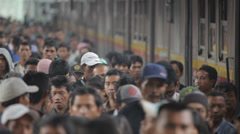 Jakarta train station crowed Stock Footage