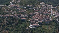 Aerial corsica village sartene Stock Footage