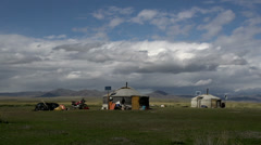Zoom out from 2 yurts (Ger) from nomads in Mongolia Stock Footage