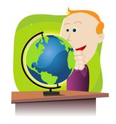 boy discovering the earth globe - stock illustration