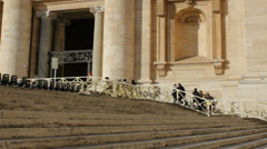 Tourists Ascending St Peters Square Stairs Stock Footage