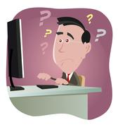 confused man dealing with computer error - stock illustration