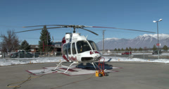 Hospital AirMed emergency helicopter winter 4K  Stock Footage