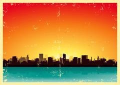 Summer grunge urban landscape Stock Illustration