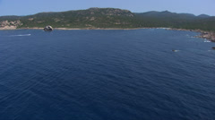 Aerial corsica sea rock Stock Footage
