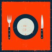 grunge kitchenware - fork, knife and plate - stock illustration