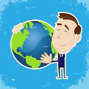 Man loving earth Stock Illustration