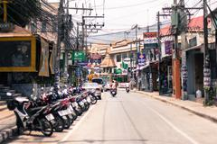 Huge scooter parking. Thailand - stock photo