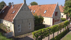 Village behind ramparts pan chestnut tree, Bourtange fortification, - stock footage