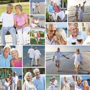 Happy senior couple people beach retirement lifestyle Stock Photos