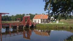 Rampart bridge + draw bridge crossing moat pan, Bourtange fortification Stock Footage