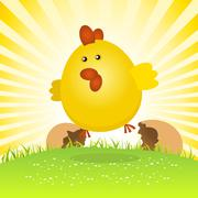 spring easter chick birth - stock illustration