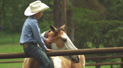 A boy in a cowboy hat sits on a fence and pets horses - stock footage