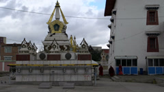 Stupa next to the side of the Gandan Monastery in Ulaan Bataar Stock Footage