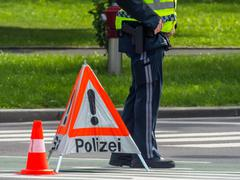 police use. roadblock - stock photo