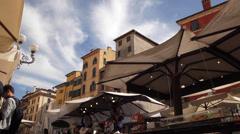 Piazza delle Erbe Marketplace Stock Footage