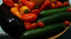 Pan Over Washed Vegetables Stock Footage