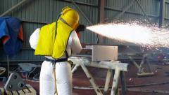 Thermal Spray Analysis coating work. Stock Footage